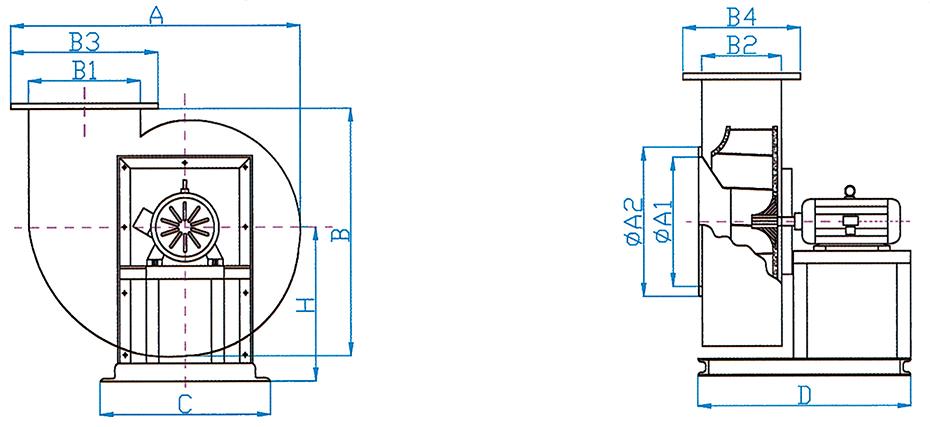 恒跃环保PP4-72型A式风机尺寸图
